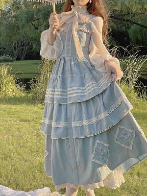 Vintage Square Neckline Embroidered Lolita Dress JSK