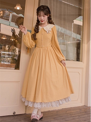 Vintage Peter Pan Collar Long Sleeves Embroidered Lolita Dress OP