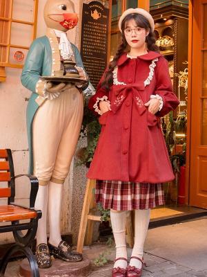 Sugar-coated Haws Vintage Peter Pan Collar Long Sleeves Woolen Lolita Coat