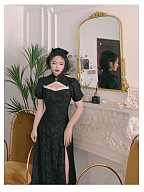 Ink Smoke Vintage Stand Collar Short Sleeves Hollow Jacquard Qi Dress by Lians Collection
