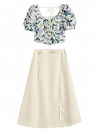 Floral Pulp Vintgae Square Neckline Short Puff Sleeves Jacquard Top / Skirt  by Lians Collection