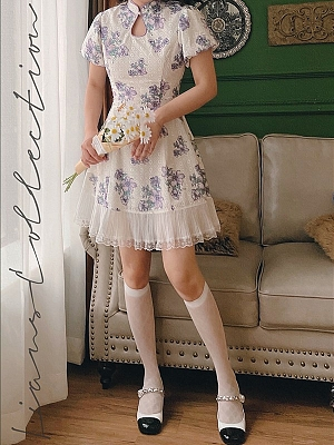 Narcissus lily Vintage Stand Collar Short Puff Sleeves High Slit Long Dress / Short Dress by Lians Collection