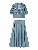 Romantic Waters Vintage Lapel Collar Short Puff Sleeves Top / Long Skirt Sets by Lians Collection