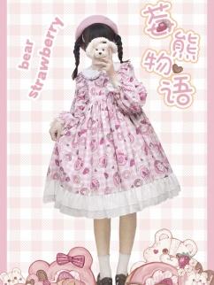 Strawberry Teddy Empire Waist Sweet Plaid Lolita Dress OP by Lineall Cat