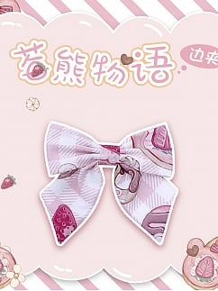 Strawberry Teddy Lolita Dress Matching Hairclip by Lineall Cat