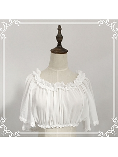 White color Short Wide Sleeves Ruffled Neckline Cropped Blouse