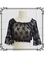 2021 New Colors Available Short Wide Sleeves Ruffled Neckline Cropped Blouse Ready to Ship