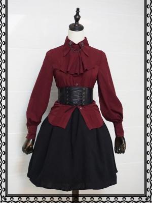 Dark Night Castle Turndown Collar Leg-of-mutton Sleeves Ouji Lolita Shirt with Tie