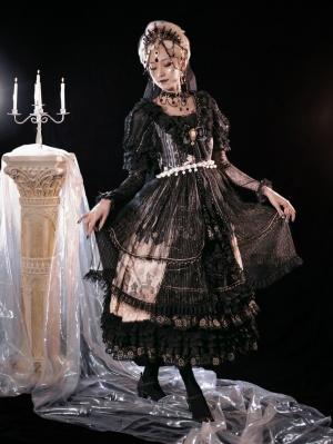 Rosa Castle Gorgeous Tea Party Square Neckline Short Sleeves Gothic Lolita Dress OP