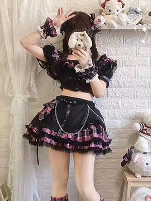 Planet Hot Girl Off-the-shoulder Top / Tiered Flounce Skirt Full Set