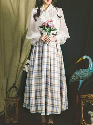 Best Seller Elastic High Waist Plaid Long Skirt  by Miss Egg