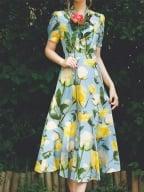 Sunny Sky Garden Vintage Print Short Puff Sleeves Self-tie Bowknot Shirt / Print Long Skirt by Miss Egg