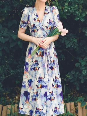 Ink Orchid Pavilion Vintage Short Sleeves Print Wrap Dress by Miss Egg