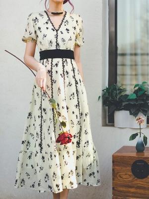 Flower Vine Vintage V-neck Short Puff Sleeves Velvet Bowknot Long Dress by Miss Egg