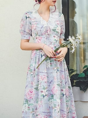 Twelve Flower Letters Vintage Ruffled Lace V-neck Short Puff Sleeves Print Long Dress by Miss Egg
