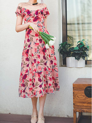Chi Zhi Berry Raspberry Vintage Ruffled Off-the-shoulder Neckline Sleeveless Print Dress by Miss Egg