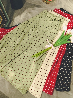 Paris Poetry Society Vintage 4 Colors Wave Point High Waist Skirt by Miss Egg