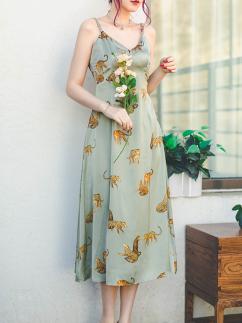Rilke's Leopard Vintage Sweetheart Neckline Animal Print Cami Dress by Miss Egg