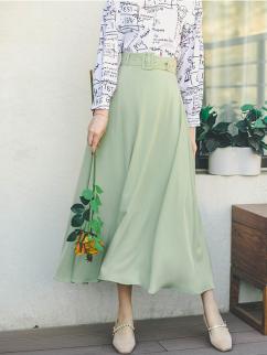 Pear Flower Vintage High Waist Long Skirt with Waist Belt by Miss Egg