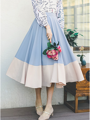 Hear the Waves Vintage Contrast Color High Waist Long Skirt by Miss Egg