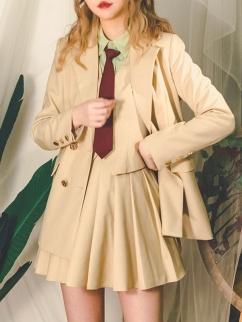 Prose Poem Ⅱ Vintage Lapel Collar Long Sleeves Jacket by Miss Egg