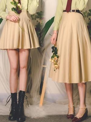 Prose Poem Vintage High Waist Pleated Long Skirt / Short Skirt by Miss Egg
