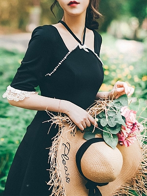 Sleepless in Paris Vintage 3/4 Sleeves Pearl Lace Long Dress by Miss Egg