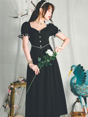 Nightingale Vintage Black Short Puff Sleeves Long Dress by Miss Egg