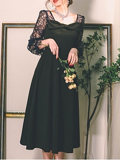 Love Poems in Paris Vintage Square Neckline Lace Long Sleeves Bowknot Long Dress by Miss Egg