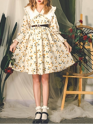 Vintage Peter Pan Collar Lantern Sleeves Print Dress by Miss Egg