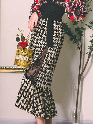 Begonia Flower Shadow Vintage Houndstooth Lace Hollow Out Mermaid Skirt by Miss Egg