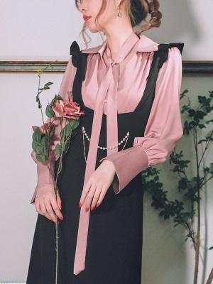 Misty Dawn Vintage Long Sleeves Self-tie Shirt by Miss Egg