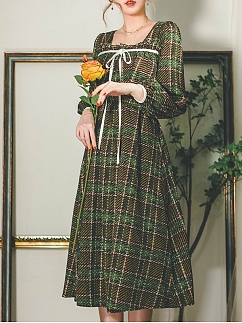 Misty Valley Vintage Plaid Square Neckline Long Lantern Sleeves Self-tie Long Dress by Miss Egg