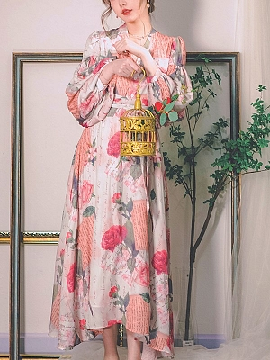 Letter from Spring Vintage V-neck Long Lantern Sleeves Print Long Dress by Miss Egg