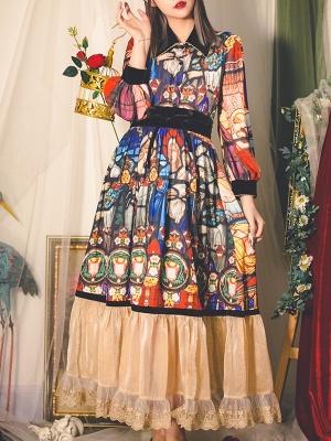 Travelling Poet Vintage High Waist Ruffled Print Long Skirt by Miss Egg