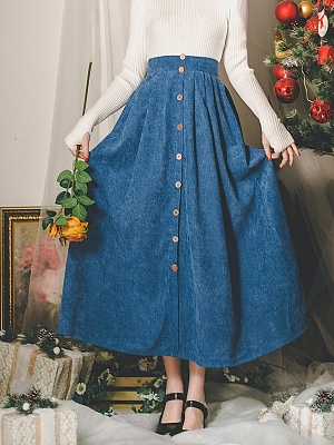 Cinnamon Mint Vintage Corduroy High Waist Long Skirt by Miss Egg