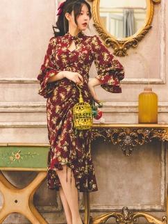Begonia Rouge Vintage Long Sleeves Drawstring Print Dress by Miss Egg