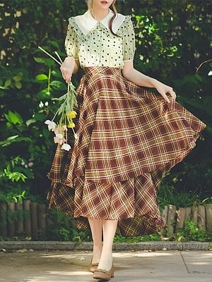 Scottish Dance Vintage High Waist Double Layer Plaid Long Skirt by Miss Egg