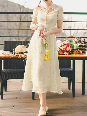 Wind-stained Goose Yellow Vintage Short Sleeves Jacquard Long Dress by Miss Egg