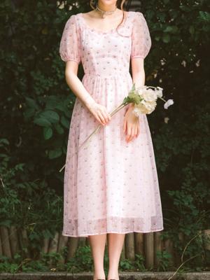 Lotus Thoughts Vintgae Short Lantern Sleeves Chiffon Print Long Dress by Miss Egg