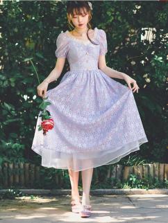 Flower Dance Vintgae Short Puff Sleeves Lace Long Dress by Miss Egg