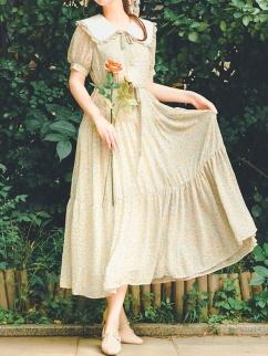 Stunned Vintgae Peter Pan Collar Short Lantern Sleeves Floral Print Long Dress by Miss Egg