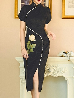 Night Elf Vintage High Neck Short Sleeves Slit Jacquard Qi Dress by Miss Egg