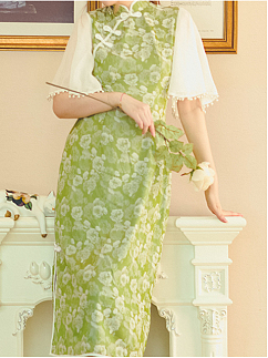 Pearl Green Vintage Stand Collar Short Sleeves Satin Jacquard Qi Dress by Miss Egg