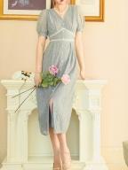 Fei Leng Cui Vintage V-neck Short Lantern Sleeves Lace Long Dress by Miss Egg