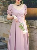 Gentle and Soft Lingering Vintage Square Neckline Short Sleeves High Waist Long Dress by Miss Egg