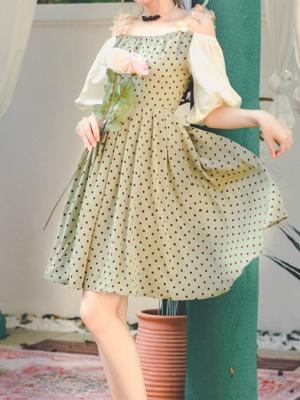 Magic Castle Vintage Off-the-shoulder Neckline 3/4 Sleeves Wave Point Short Dress  by Miss Egg