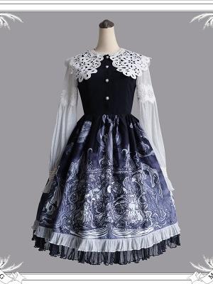 Gothic Peter Pan Collar Long Bishop Sleeves Lolita Dress OP by MILU Original