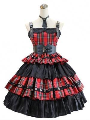 Punk Girl Square Neckline Tiered Skirt Punk Lolita Dress JSK by MILU Original
