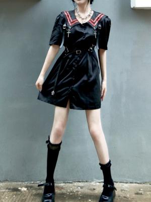 Gothic JK Navy Collar Short Sleeves Cross Decorative Short Dress / Waist Belt Full Set by Miub Design Studio